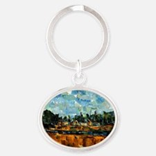 Cezanne painting, Riverbanks Oval Keychain