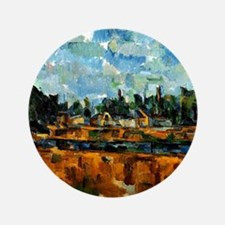 Cezanne painting, Riverbanks Button