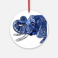 Blue Elephant Round Ornament