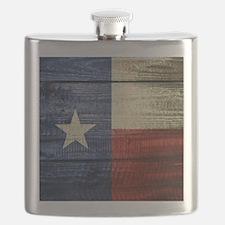Texas Flag on Wood Flask