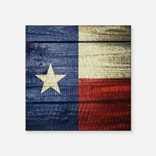 "Texas Flag on Wood Square Sticker 3"" x 3"""