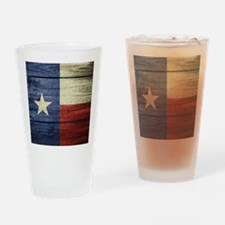 Texas Flag on Wood Drinking Glass
