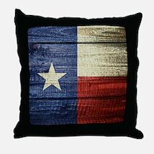 Texas Flag on Wood Throw Pillow