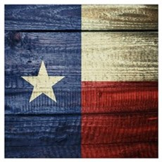 Texas Flag on Wood Poster