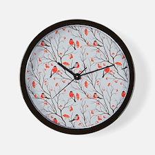 Winter Birds Grey Wall Clock