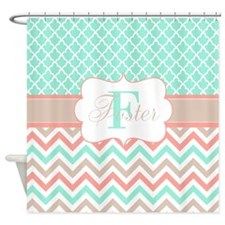 Teal Beige Quatrefoil Chevron Shower Curtain