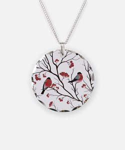 Winter Birds Marsala Red and Necklace
