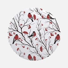 Winter Birds Marsala Red and Black Round Ornament