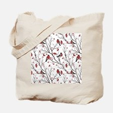 Winter Birds Marsala Red and Black on Whi Tote Bag