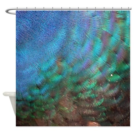 Blue And Green Peacock Feathers Shower Curtain by ...