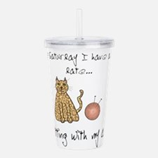 knitting cat 2.png Acrylic Double-wall Tumbler