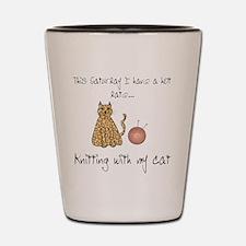 knitting cat 2.png Shot Glass