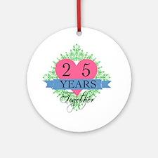 25th Wedding Anniversary Round Ornament