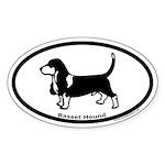 Basset Hound Oval Euro Style Sticker