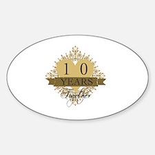 10th Wedding Anniversary Sticker (Oval)