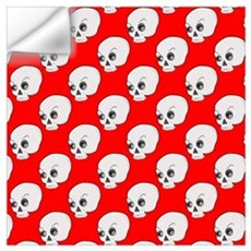 Skull Pattern On Red Background Wall Decal