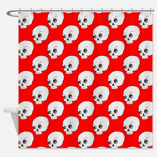 Skull Pattern On Red Background Shower Curtain