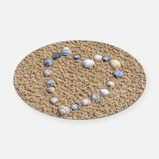 Seashell heart Oval Car Magnet