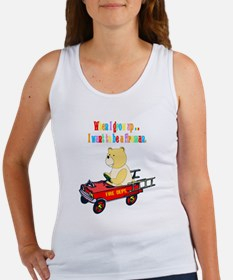 Fireman Bear Fire Engine Women's Tank Top