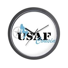 Sexy USAF Cousin - Blue Wall Clock