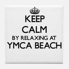 Keep calm by relaxing at Ymca Beach W Tile Coaster