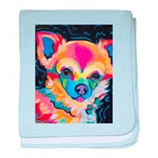 Neon Pomeranian or Chihuahua Portrait baby blanket