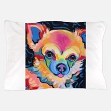 Neon Pomeranian or Chihuahua Portrait Pillow Case
