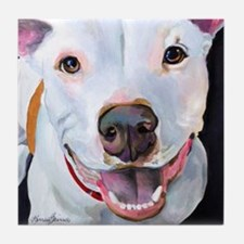 Charlie The Pitbull Dog Portrait Tile Coaster