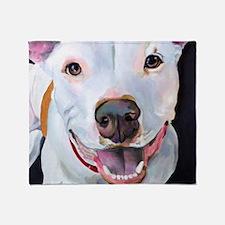 Charlie The Pitbull Dog Portrait Throw Blanket