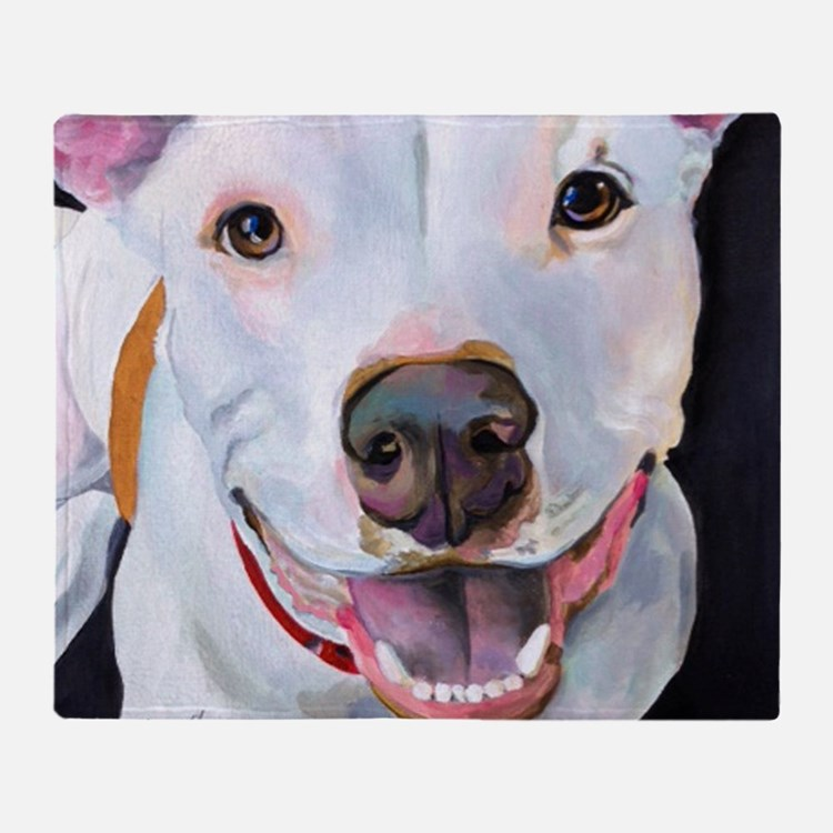 Charlie The Pitbull Dog Portrait Throw Blanket