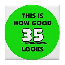 35th Birthday - Happy Birthda Tile Coaster