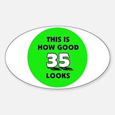 35th Birthday - Happy Birthda Oval Decal