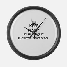 Keep calm by relaxing at El Capit Large Wall Clock