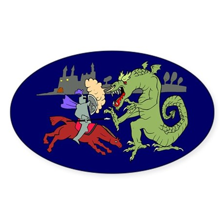 Fighting the Dragon Oval Sticker