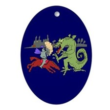 Fighting the Dragon Oval Ornament