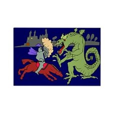 Fighting the Dragon Rectangle Magnet