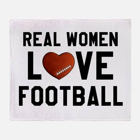 Real Women Love Football Throw Blanket