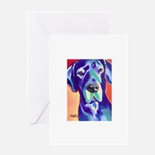 Gus The Great Dane with a Black Nos Greeting Cards