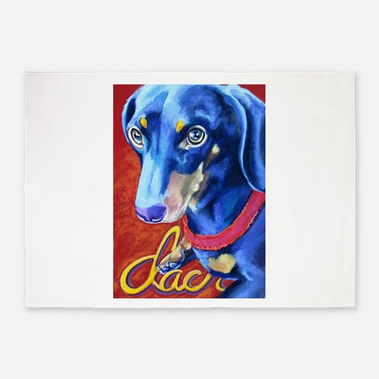 Dachshund Dog Art Portrait 5'x7'Area Rug