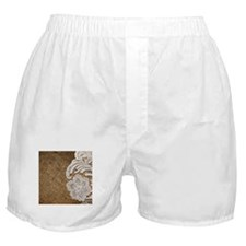 shabby chic burlap lace Boxer Shorts