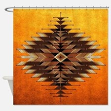 Native Style Orange Sunburst Shower Curtain