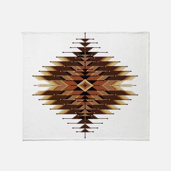 Native Style Orange Sunburst Throw Blanket