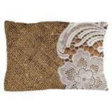 Barn wood lace western country Pillow Cases