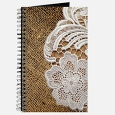 shabby chic burlap lace Journal