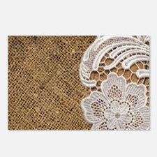shabby chic burlap lace Postcards (Package of 8)