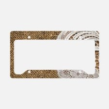 shabby chic burlap lace License Plate Holder