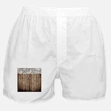 shabby chic lace barn wood Boxer Shorts