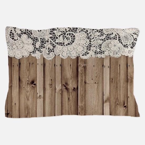 shabby chic lace barn wood Pillow Case