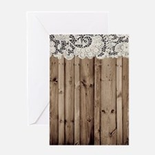 shabby chic lace barn wood Greeting Cards