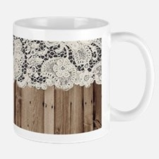shabby chic lace barn wood Mugs